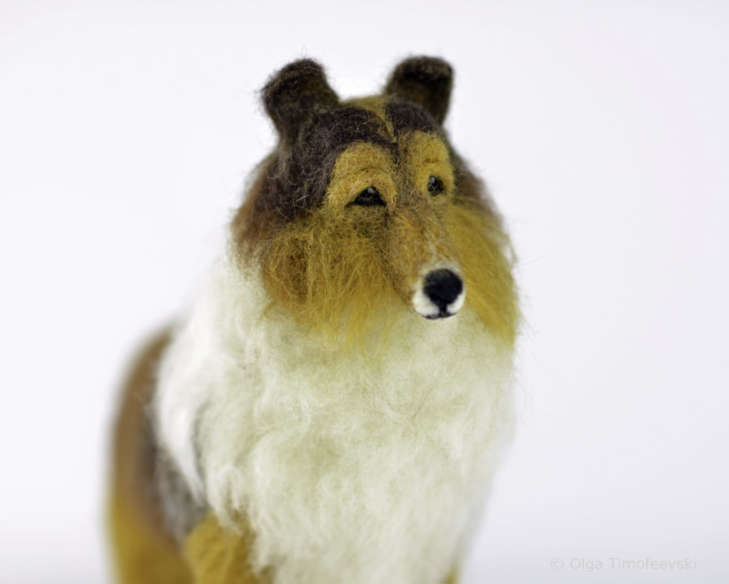 "Rough Collie ""Allie"" needle felted figurine © Olga Timofeevski"