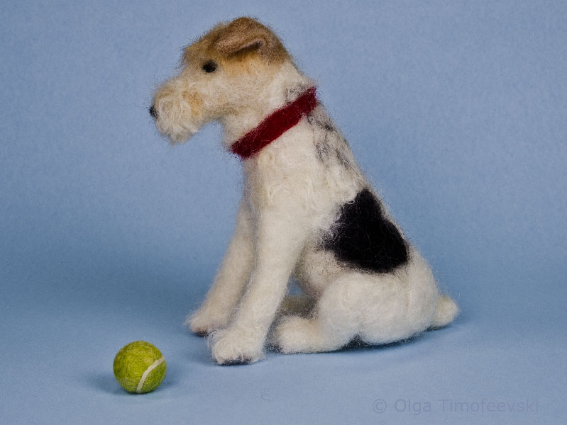 Sydney the Wire Fox Terrier with a tennis ball needle felted sculpture