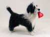 Border Collie, Bearded Collie, and Petit Basset Griffon Vend�en mix, needle felted statue